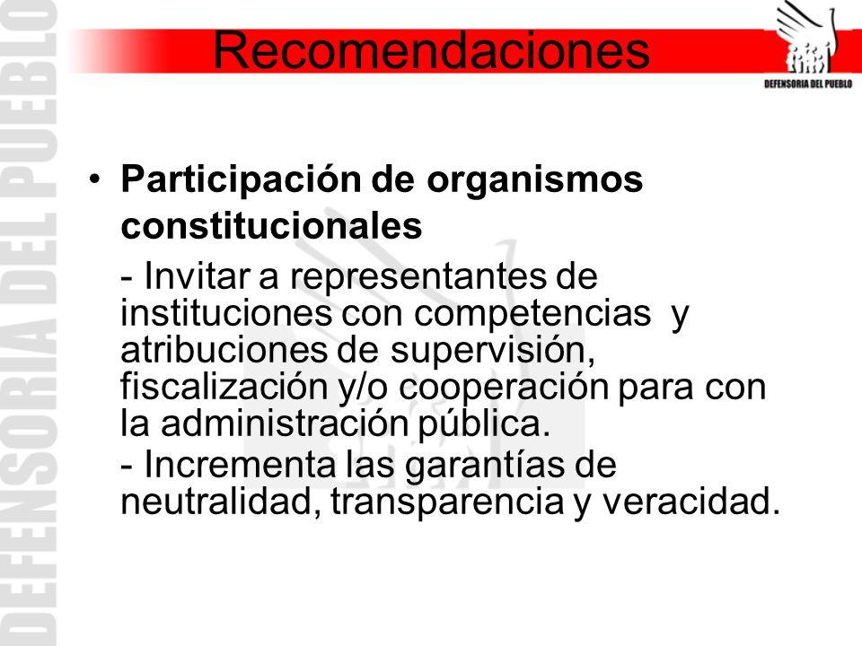 Participación de organismos constitucionales - Invitar a representantes de instituciones con competencias y atribuciones de supervisión, fiscalización