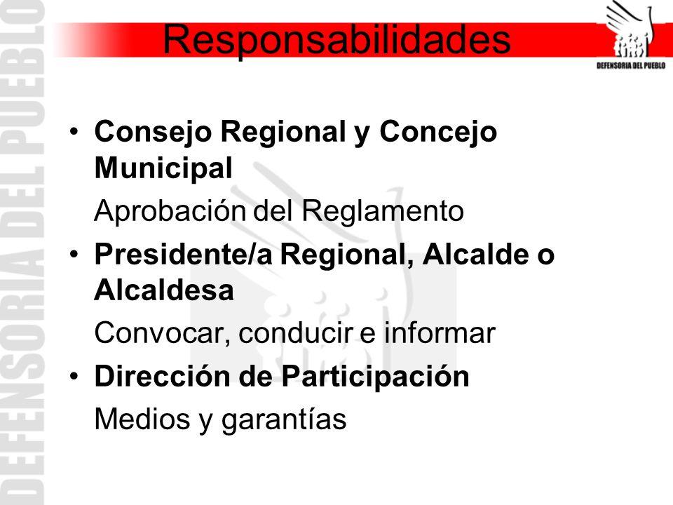 Consejo Regional y Concejo Municipal Aprobación del Reglamento Presidente/a Regional, Alcalde o Alcaldesa Convocar, conducir e informar Dirección de Participación Medios y garantías Responsabilidades