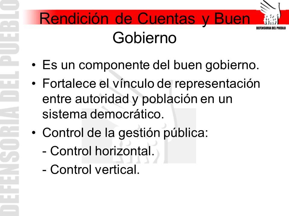 Rendición de Cuentas y Buen Gobierno Es un componente del buen gobierno.