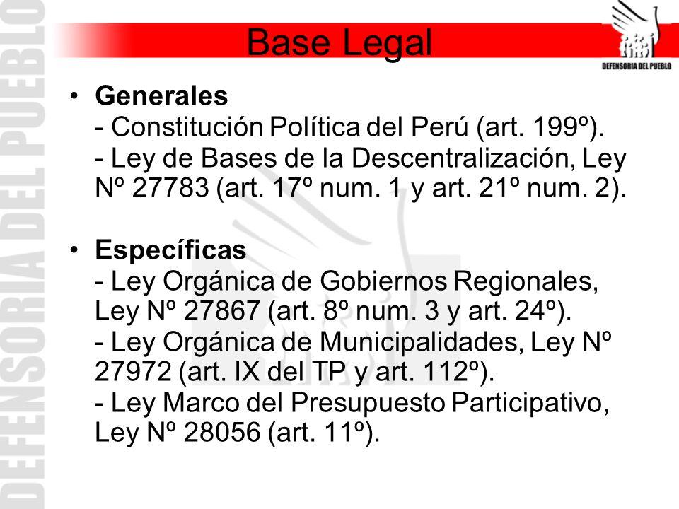 Base Legal Generales - Constitución Política del Perú (art. 199º). - Ley de Bases de la Descentralización, Ley Nº 27783 (art. 17º num. 1 y art. 21º nu