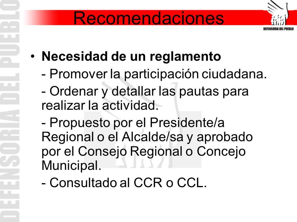 Recomendaciones Necesidad de un reglamento - Promover la participación ciudadana. - Ordenar y detallar las pautas para realizar la actividad. - Propue