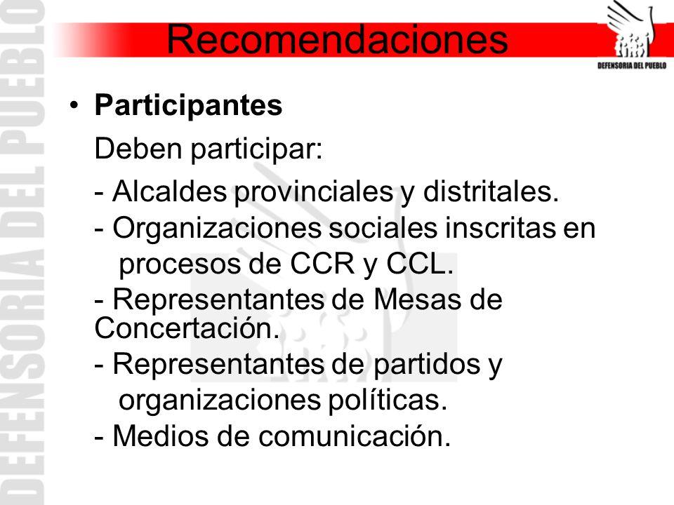 Participantes Deben participar: - Alcaldes provinciales y distritales. - Organizaciones sociales inscritas en procesos de CCR y CCL. - Representantes
