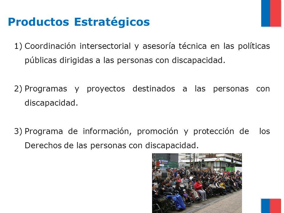 Productos Estratégicos 1)Coordinación intersectorial y asesoría técnica en las políticas públicas dirigidas a las personas con discapacidad. 2)Program