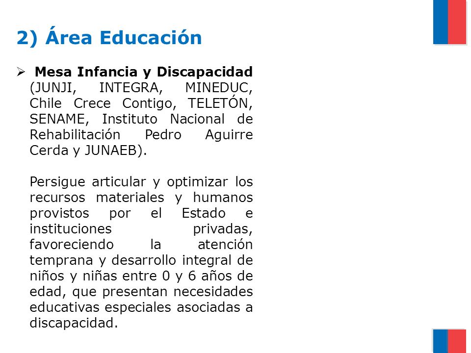 2) Área Educación Mesa Infancia y Discapacidad (JUNJI, INTEGRA, MINEDUC, Chile Crece Contigo, TELETÓN, SENAME, Instituto Nacional de Rehabilitación Pe