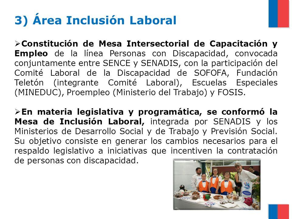 3) Área Inclusión Laboral Constitución de Mesa Intersectorial de Capacitación y Empleo de la línea Personas con Discapacidad, convocada conjuntamente