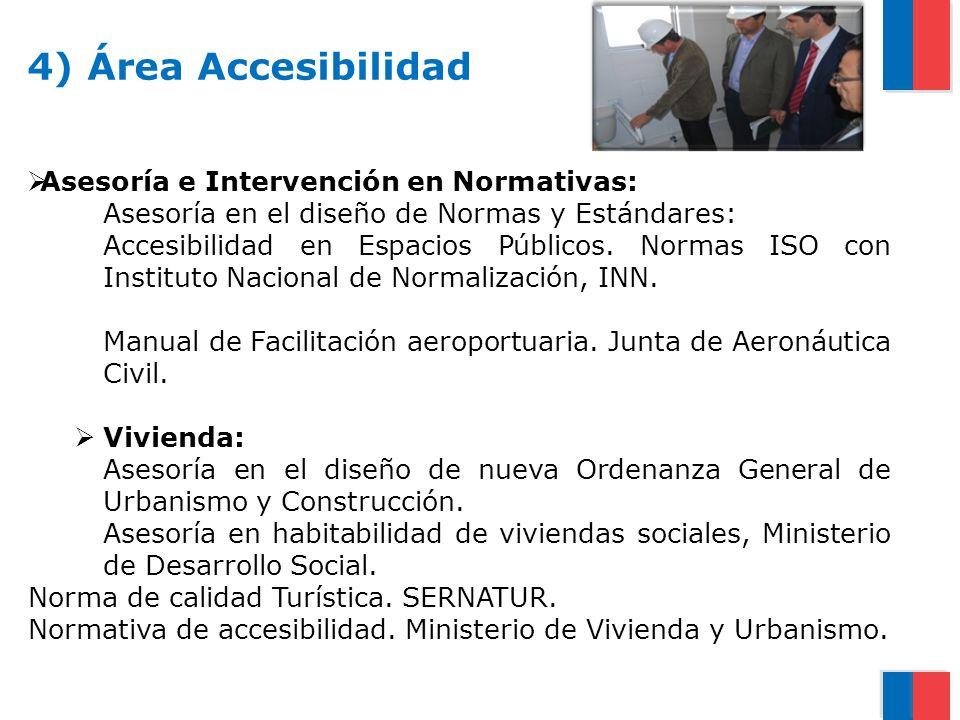 4) Área Accesibilidad Asesoría e Intervención en Normativas: Asesoría en el diseño de Normas y Estándares: Accesibilidad en Espacios Públicos. Normas