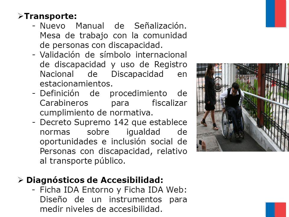 Transporte: -Nuevo Manual de Señalización. Mesa de trabajo con la comunidad de personas con discapacidad. -Validación de símbolo internacional de disc