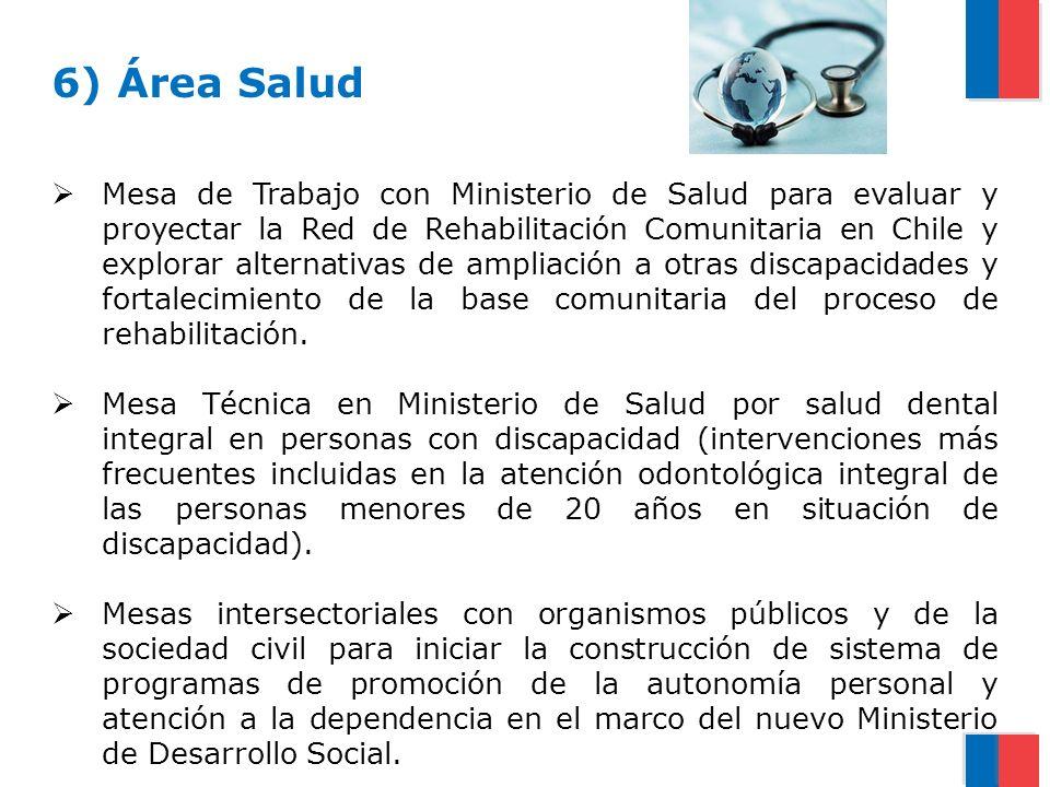 6) Área Salud Mesa de Trabajo con Ministerio de Salud para evaluar y proyectar la Red de Rehabilitación Comunitaria en Chile y explorar alternativas d