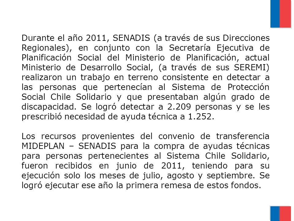 Durante el año 2011, SENADIS (a través de sus Direcciones Regionales), en conjunto con la Secretaría Ejecutiva de Planificación Social del Ministerio