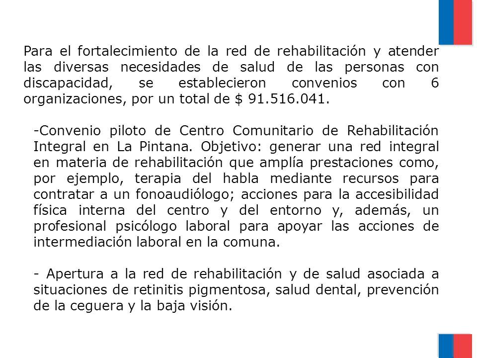 Para el fortalecimiento de la red de rehabilitación y atender las diversas necesidades de salud de las personas con discapacidad, se establecieron con