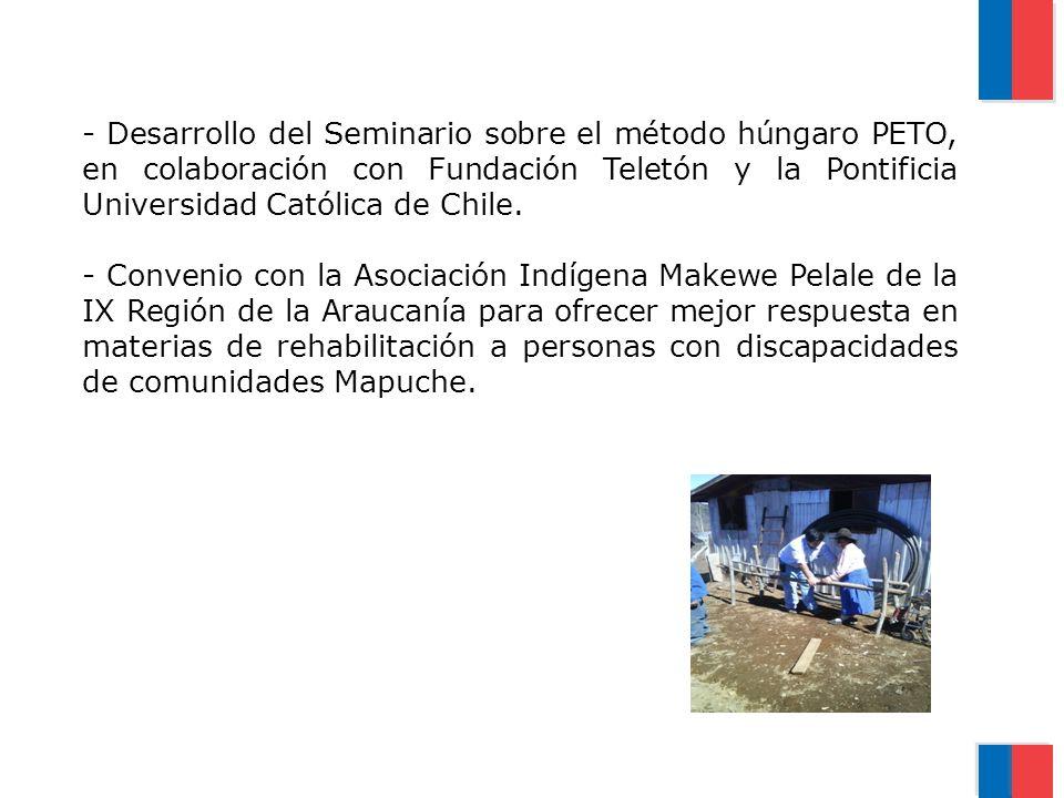 - Desarrollo del Seminario sobre el método húngaro PETO, en colaboración con Fundación Teletón y la Pontificia Universidad Católica de Chile. - Conven
