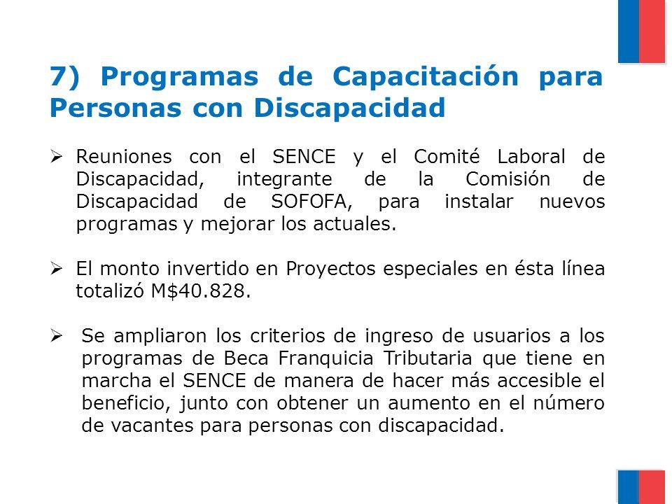 7) Programas de Capacitación para Personas con Discapacidad Reuniones con el SENCE y el Comité Laboral de Discapacidad, integrante de la Comisión de D