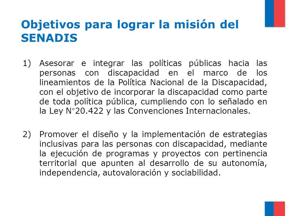 Objetivos para lograr la misión del SENADIS 1)Asesorar e integrar las políticas públicas hacia las personas con discapacidad en el marco de los lineam