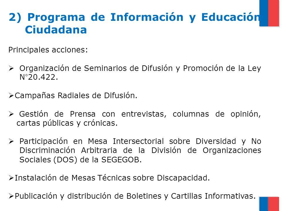 2) Programa de Información y Educación Ciudadana Principales acciones: Organización de Seminarios de Difusión y Promoción de la Ley N°20.422. Campañas