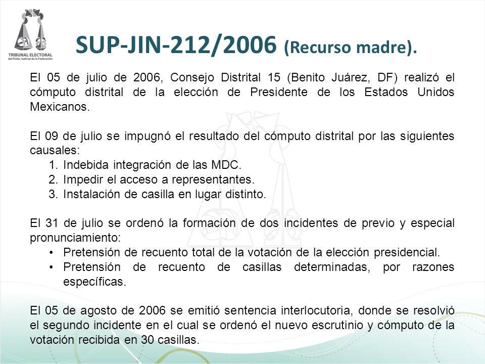 SUP-JIN-212/2006 (Recurso madre). El 05 de julio de 2006, Consejo Distrital 15 (Benito Juárez, DF) realizó el cómputo distrital de la elección de Pres