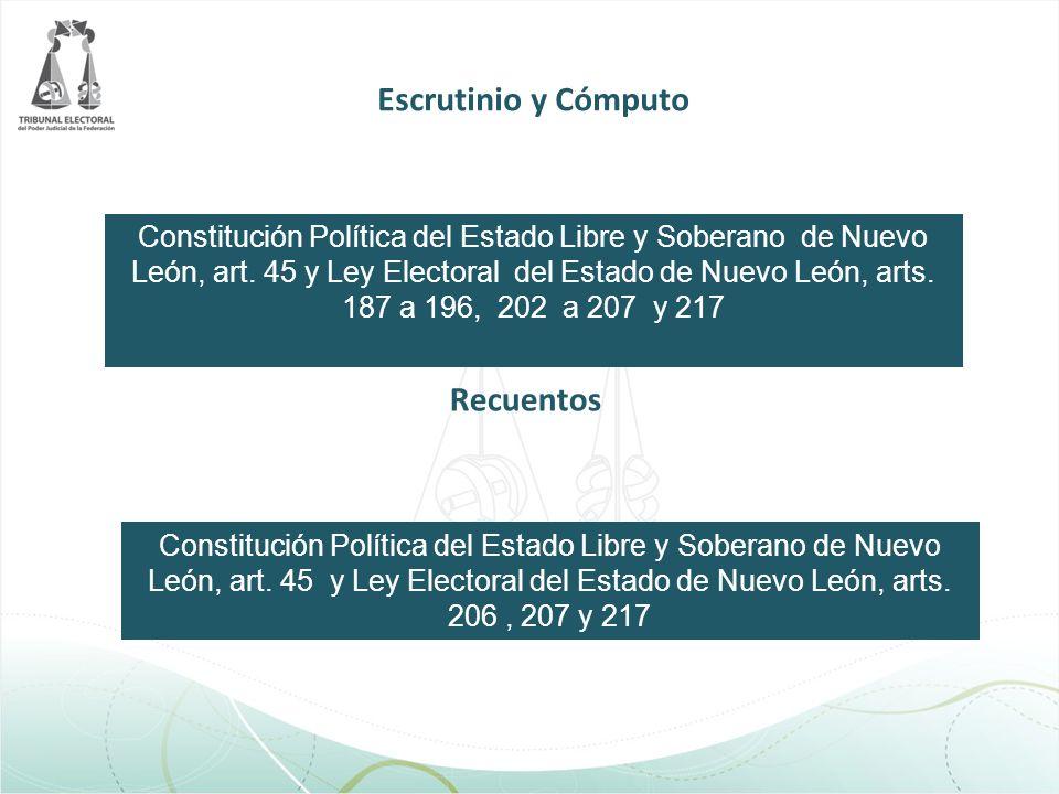 Escrutinio y Cómputo Constitución Política del Estado Libre y Soberano de Nuevo León, art. 45 y Ley Electoral del Estado de Nuevo León, arts. 187 a 19