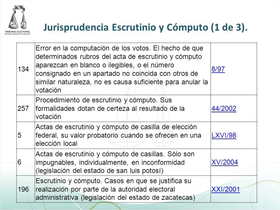 134 Error en la computación de los votos. El hecho de que determinados rubros del acta de escrutinio y cómputo aparezcan en blanco o ilegibles, o el n