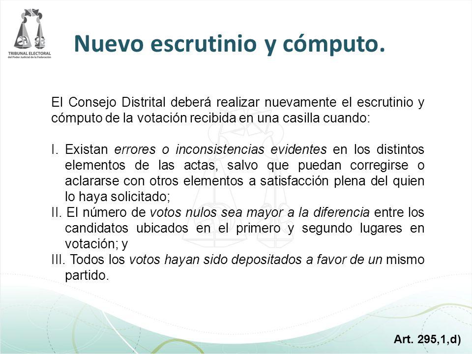 El Consejo Distrital deberá realizar nuevamente el escrutinio y cómputo de la votación recibida en una casilla cuando: I. Existan errores o inconsiste