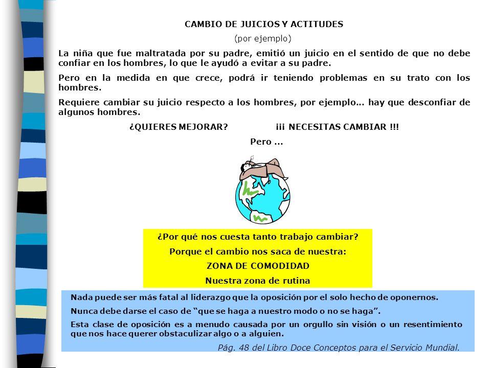 109 CAMBIO DE JUICIOS Y ACTITUDES (por ejemplo) La niña que fue maltratada por su padre, emitió un juicio en el sentido de que no debe confiar en los