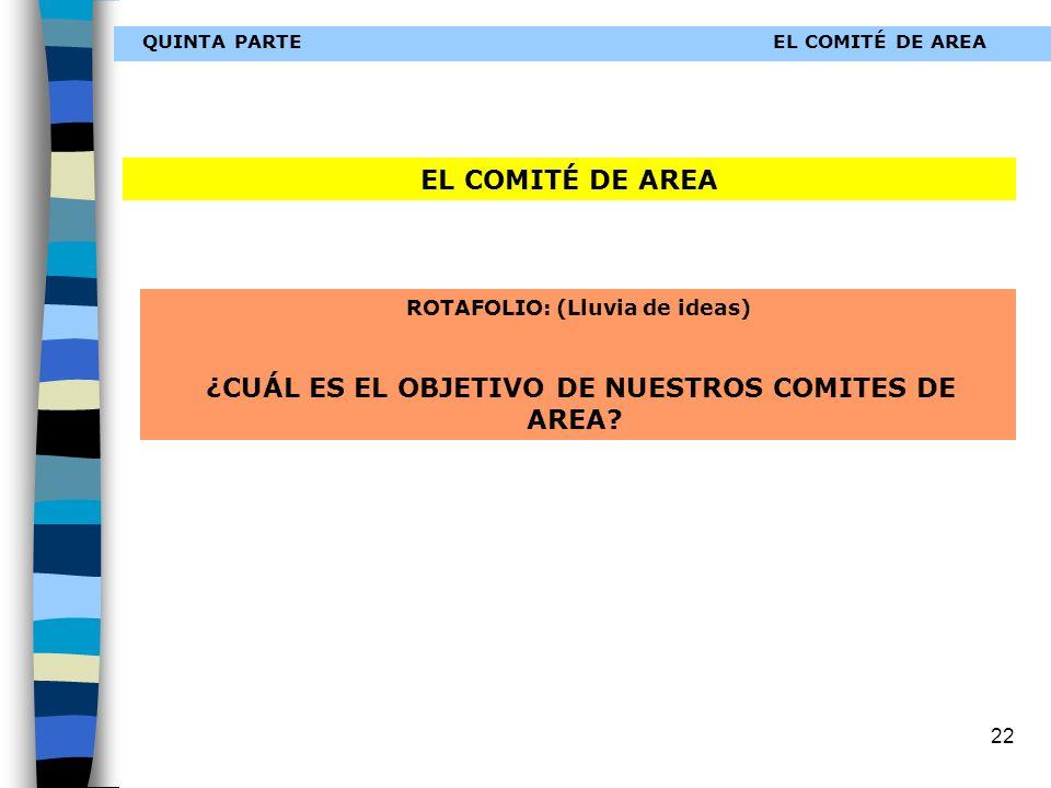 22 QUINTA PARTEEL COMITÉ DE AREA ROTAFOLIO: (Lluvia de ideas) ¿CUÁL ES EL OBJETIVO DE NUESTROS COMITES DE AREA.