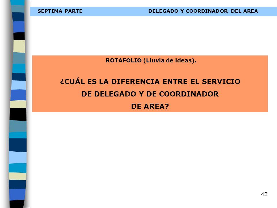42 SEPTIMA PARTEDELEGADO Y COORDINADOR DEL AREA ROTAFOLIO (Lluvia de ideas). ¿CUÁL ES LA DIFERENCIA ENTRE EL SERVICIO DE DELEGADO Y DE COORDINADOR DE