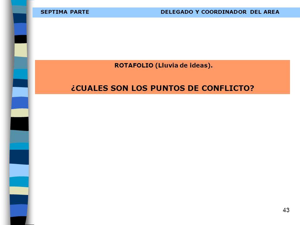 43 SEPTIMA PARTEDELEGADO Y COORDINADOR DEL AREA ROTAFOLIO (Lluvia de ideas). ¿CUALES SON LOS PUNTOS DE CONFLICTO?