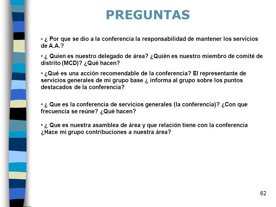 62 ¿ Por que se dio a la conferencia la responsabilidad de mantener los servicios de A.A.? ¿ Quien es nuestro delegado de área? ¿Quién es nuestro miem