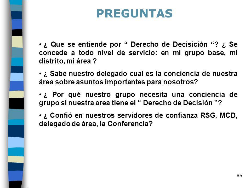 65 ¿ Que se entiende por Derecho de Decisición ? ¿ Se concede a todo nivel de servicio: en mi grupo base, mi distrito, mi área ? ¿ Sabe nuestro delega
