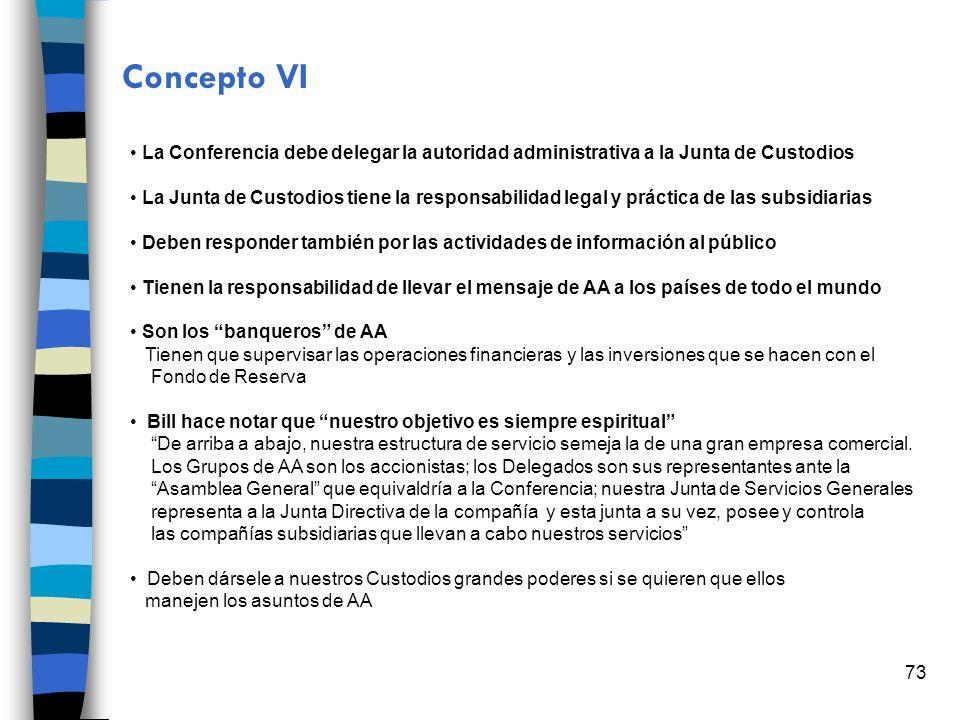 73 Concepto VI La Conferencia debe delegar la autoridad administrativa a la Junta de Custodios La Junta de Custodios tiene la responsabilidad legal y