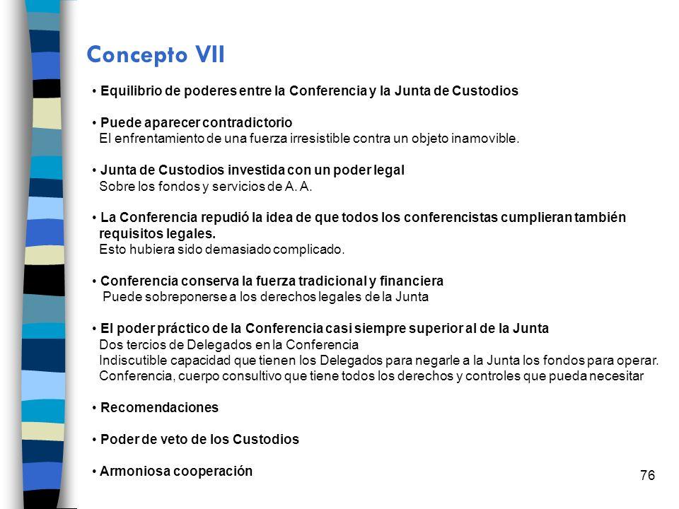 76 Concepto VII Equilibrio de poderes entre la Conferencia y la Junta de Custodios Puede aparecer contradictorio El enfrentamiento de una fuerza irres