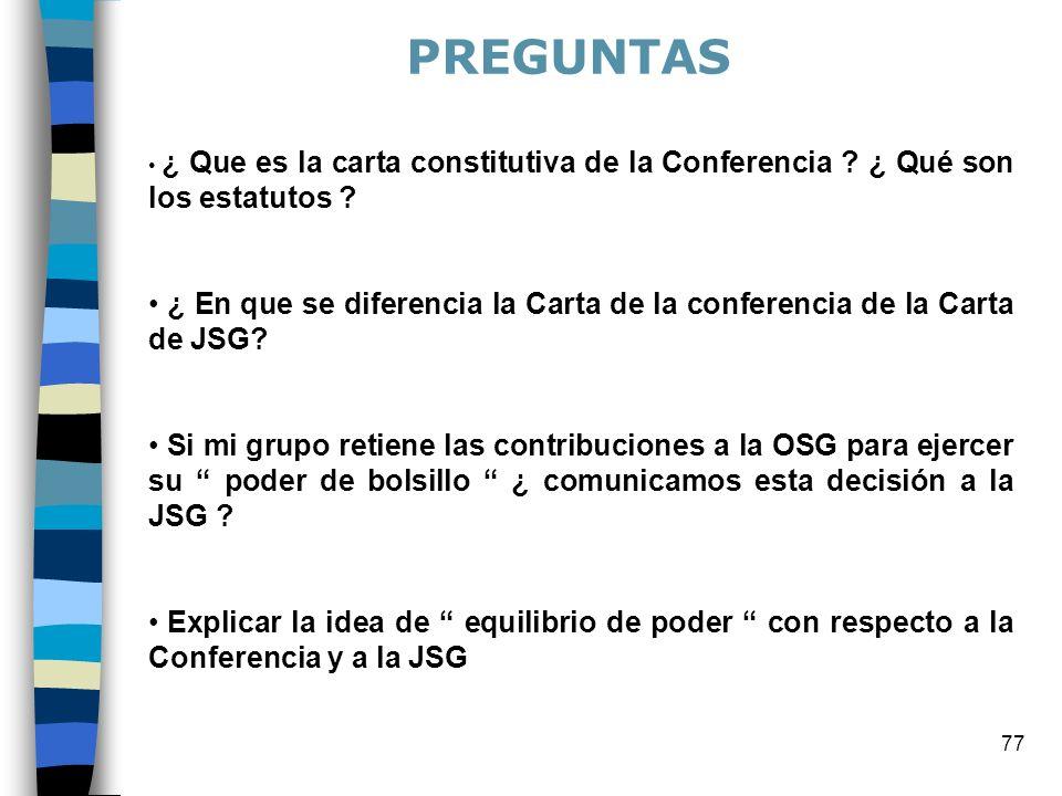 77 ¿ Que es la carta constitutiva de la Conferencia ? ¿ Qué son los estatutos ? ¿ En que se diferencia la Carta de la conferencia de la Carta de JSG?