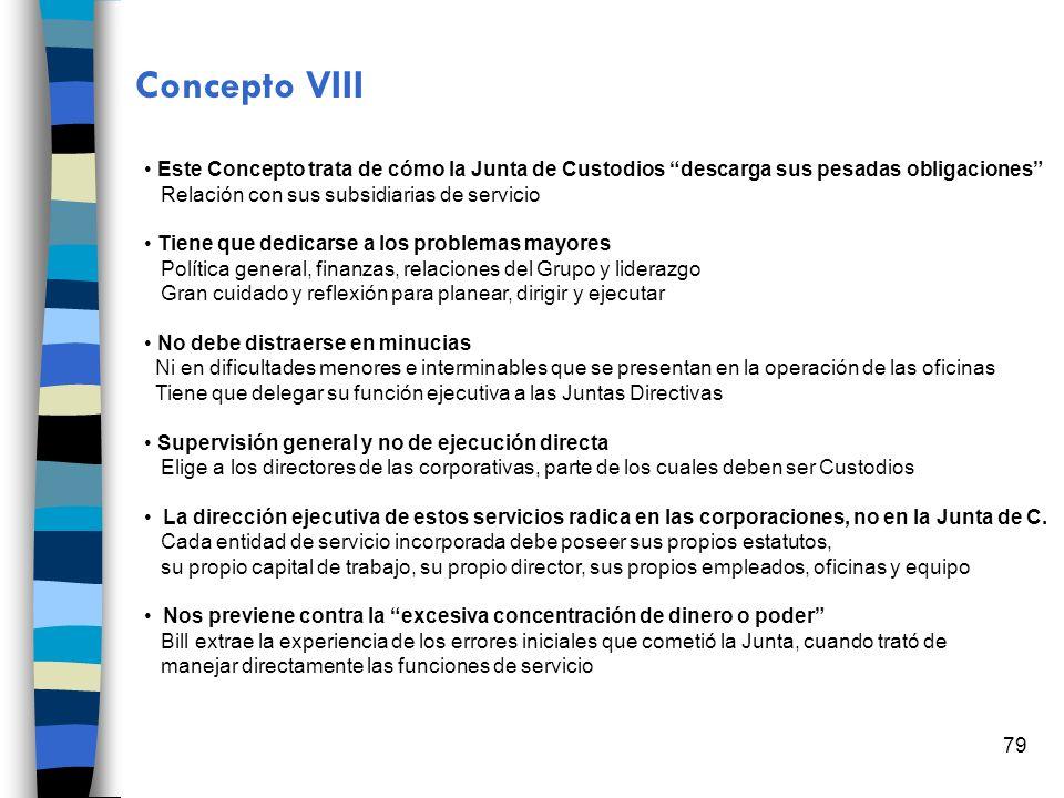 79 Concepto VIII Este Concepto trata de cómo la Junta de Custodios descarga sus pesadas obligaciones Relación con sus subsidiarias de servicio Tiene q