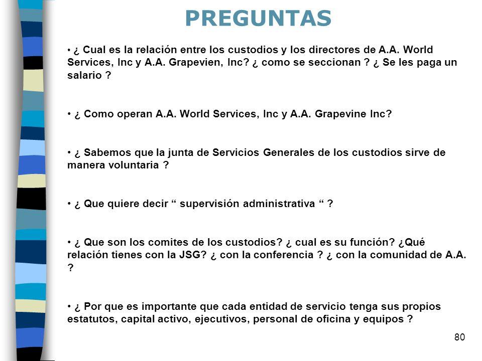 80 ¿ Cual es la relación entre los custodios y los directores de A.A. World Services, Inc y A.A. Grapevien, Inc? ¿ como se seccionan ? ¿ Se les paga u