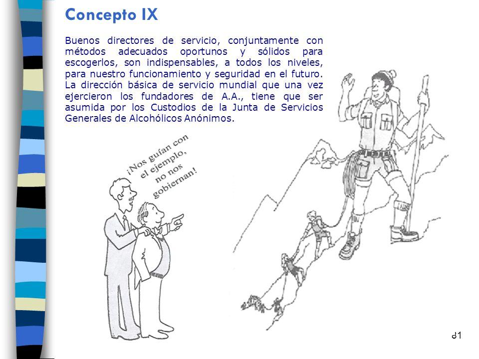 81 Concepto IX Buenos directores de servicio, conjuntamente con métodos adecuados oportunos y sólidos para escogerlos, son indispensables, a todos los niveles, para nuestro funcionamiento y seguridad en el futuro.