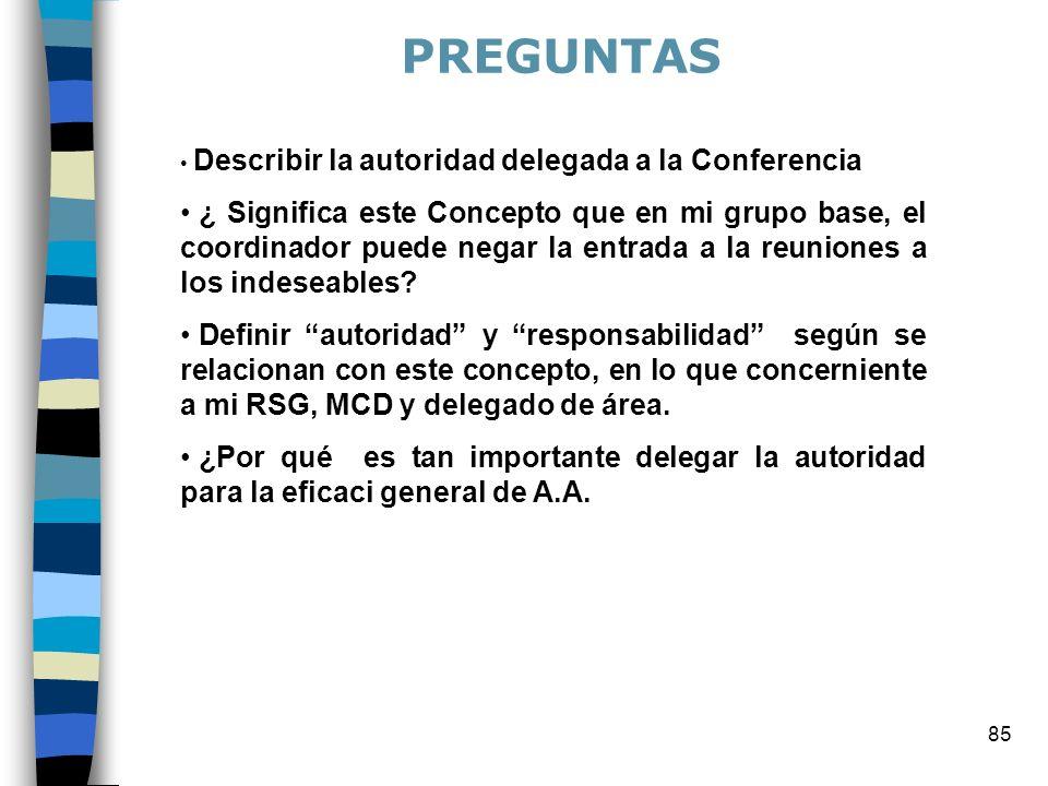 85 Describir la autoridad delegada a la Conferencia ¿ Significa este Concepto que en mi grupo base, el coordinador puede negar la entrada a la reuniones a los indeseables.