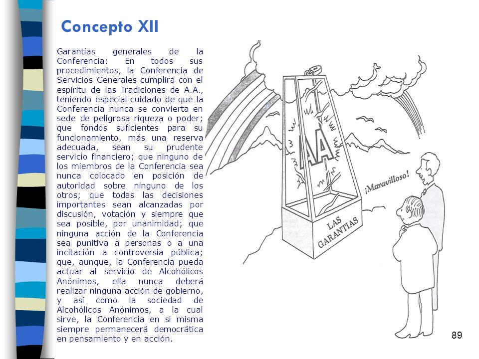 89 Concepto XII Garantías generales de la Conferencia: En todos sus procedimientos, la Conferencia de Servicios Generales cumplirá con el espíritu de