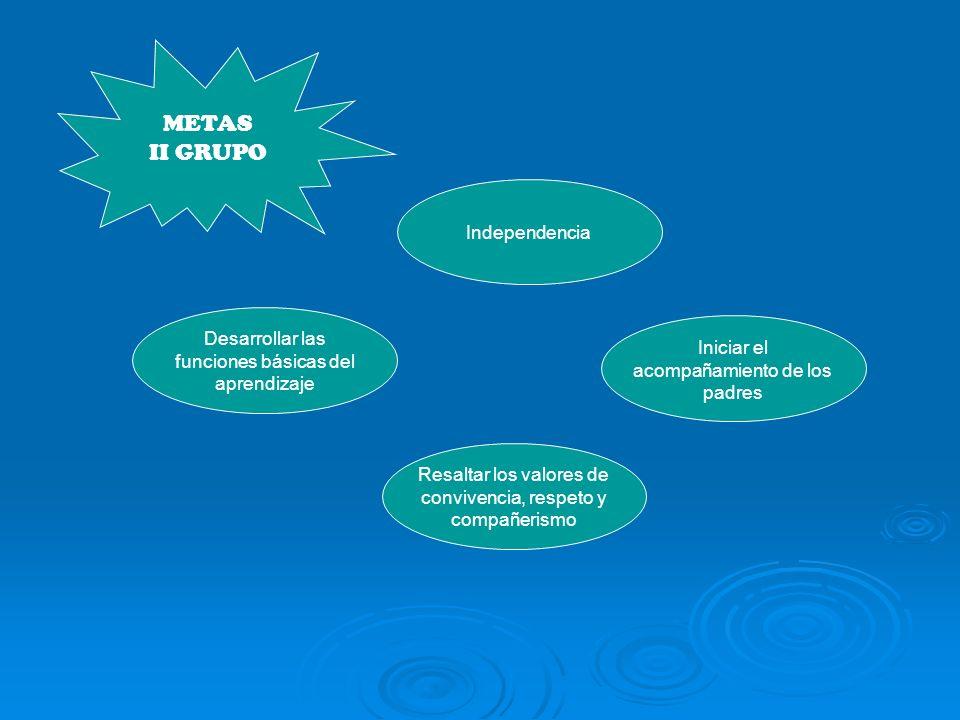 METAS II GRUPO Iniciar el acompañamiento de los padres Independencia Desarrollar las funciones básicas del aprendizaje Resaltar los valores de convivencia, respeto y compañerismo