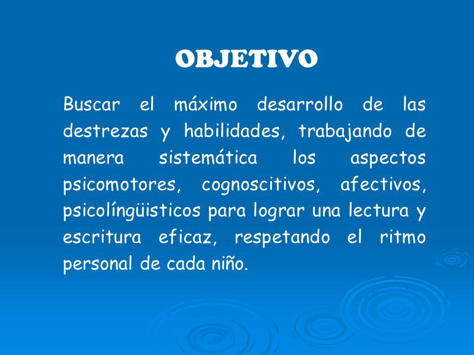 OBJETIVO Buscar el máximo desarrollo de las destrezas y habilidades, trabajando de manera sistemática los aspectos psicomotores, cognoscitivos, afecti