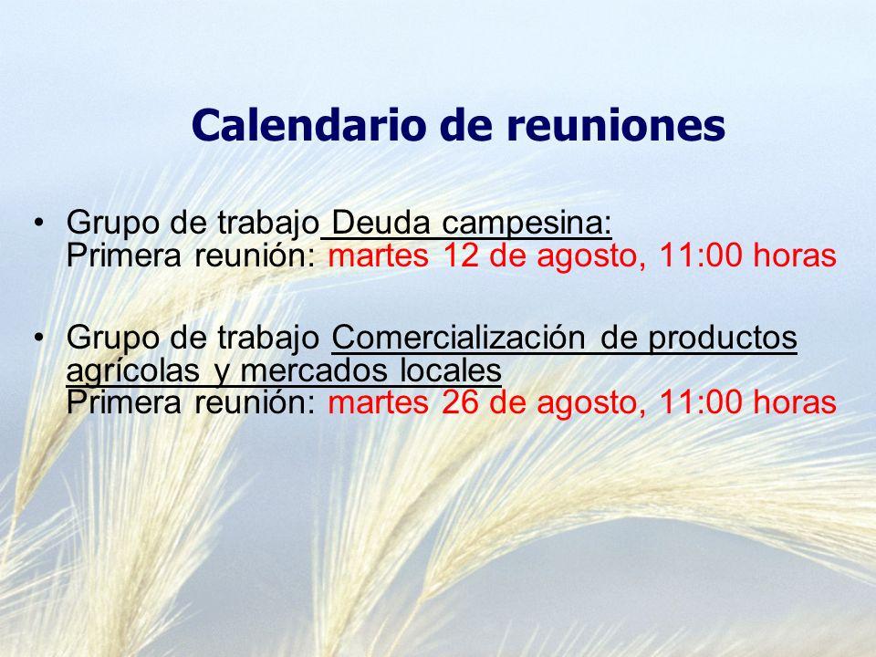 Grupo de trabajo Deuda campesina: Primera reunión: martes 12 de agosto, 11:00 horas Grupo de trabajo Comercialización de productos agrícolas y mercados locales Primera reunión: martes 26 de agosto, 11:00 horas Calendario de reuniones