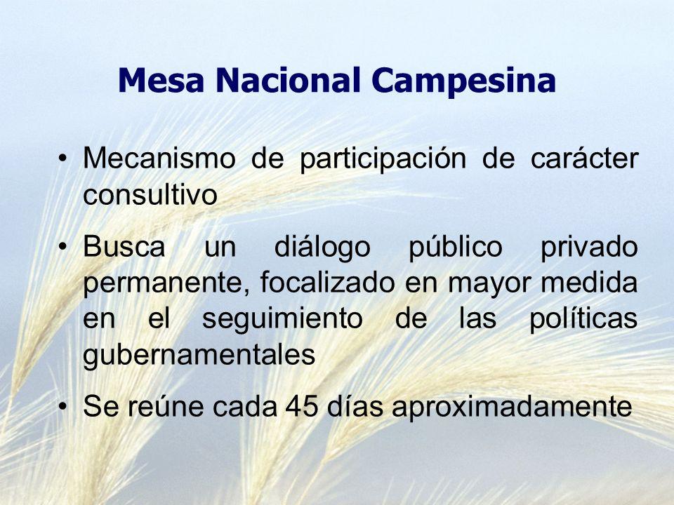Mesa Nacional Campesina Mecanismo de participación de carácter consultivo Busca un diálogo público privado permanente, focalizado en mayor medida en el seguimiento de las políticas gubernamentales Se reúne cada 45 días aproximadamente