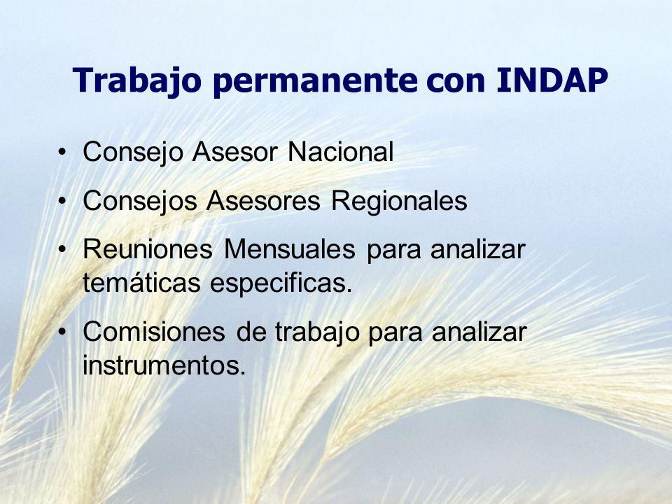Trabajo permanente con INDAP Consejo Asesor Nacional Consejos Asesores Regionales Reuniones Mensuales para analizar temáticas especificas.