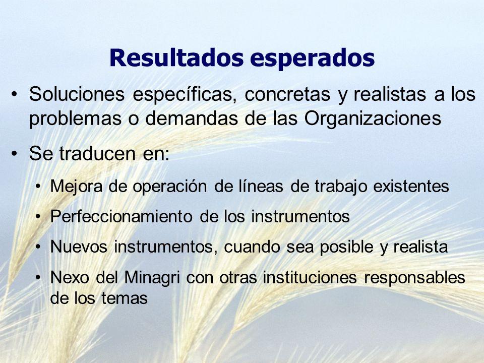 Resultados esperados Soluciones específicas, concretas y realistas a los problemas o demandas de las Organizaciones Se traducen en: Mejora de operació