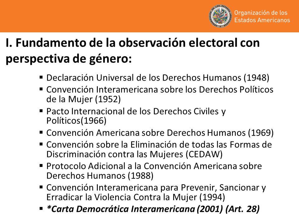Carta Democrática Interamericana (2001): ART.28… Los Estados promoverán la plena e igualitaria participación de la mujer en las estructuras políticas de sus países Como elemento fundamental para la promoción y ejercicio de la democracia.