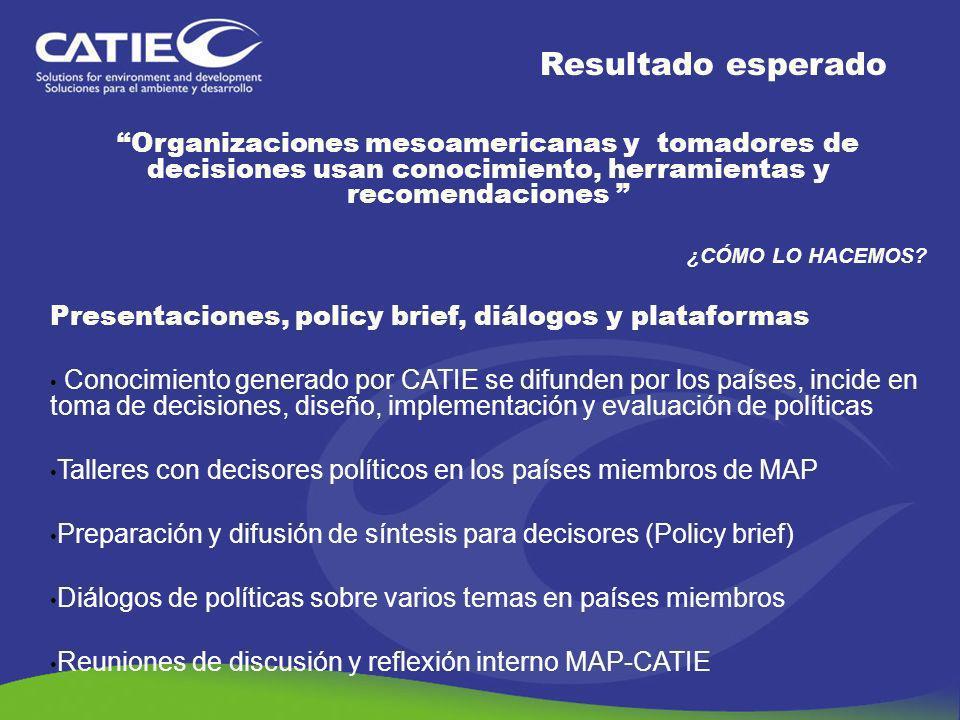 Organizaciones mesoamericanas y tomadores de decisiones usan conocimiento, herramientas y recomendaciones ¿CÓMO LO HACEMOS? Presentaciones, policy bri