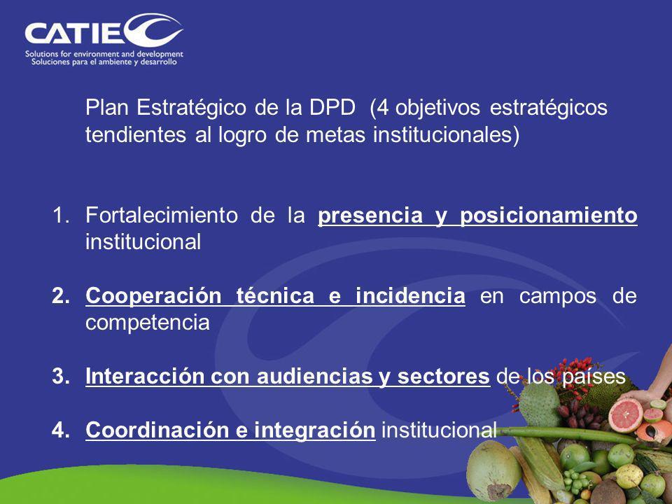 Plan Estratégico de la DPD (4 objetivos estratégicos tendientes al logro de metas institucionales) 1.Fortalecimiento de la presencia y posicionamiento