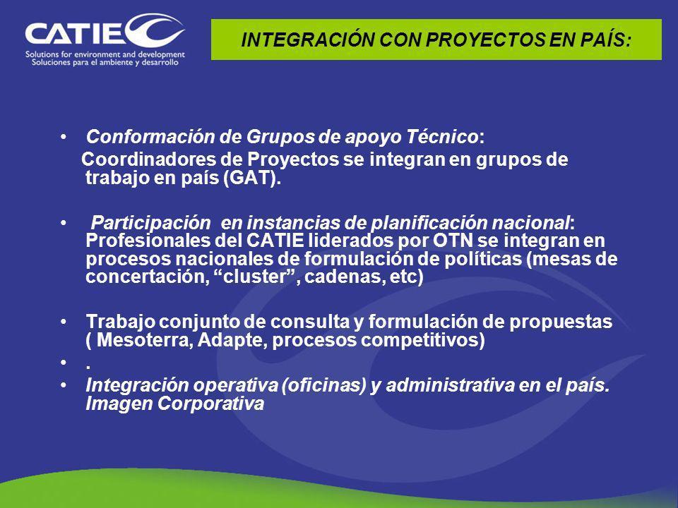 INTEGRACIÓN CON PROYECTOS EN PAÍS: Conformación de Grupos de apoyo Técnico: Coordinadores de Proyectos se integran en grupos de trabajo en país (GAT).