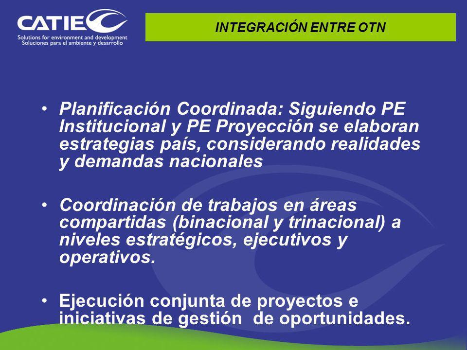 INTEGRACIÓN ENTRE OTN Planificación Coordinada: Siguiendo PE Institucional y PE Proyección se elaboran estrategias país, considerando realidades y dem