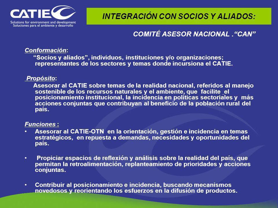 INTEGRACIÓN CON INSTANCIAS REGIONALES Participación en la implementación y formulación de estrategias regionales (ERAS, ERCC, ECADERT) Interacción con instancias de integración regional: CAC, CCAD, COMISCA.