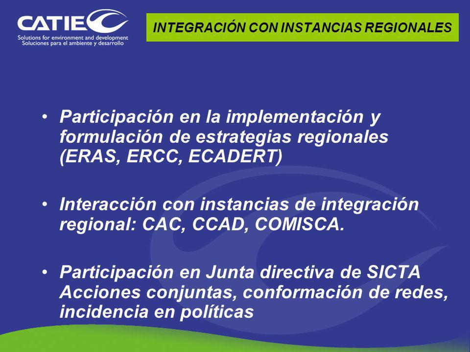 INTEGRACIÓN CON INSTANCIAS REGIONALES Participación en la implementación y formulación de estrategias regionales (ERAS, ERCC, ECADERT) Interacción con