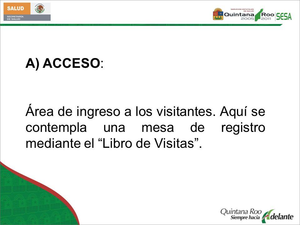 A) ACCESO: Área de ingreso a los visitantes. Aquí se contempla una mesa de registro mediante el Libro de Visitas.